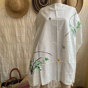 Vintage Asian Hand Painted Insect & Plant Scarf